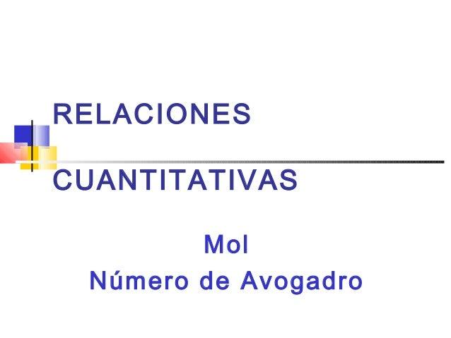 RELACIONES CUANTITATIVAS Mol Número de Avogadro