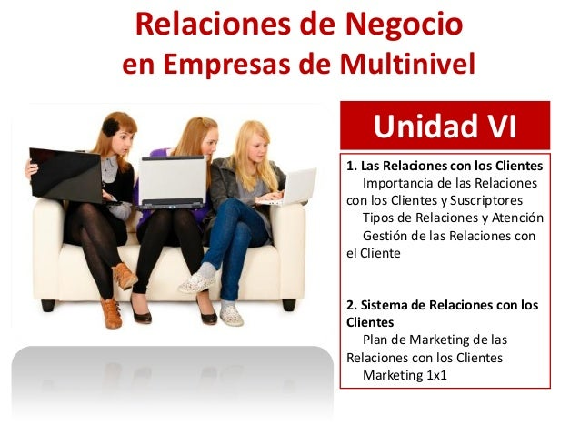 Relaciones de Negocioen Empresas de Multinivel                   Unidad VI               1. Las Relaciones con los Cliente...
