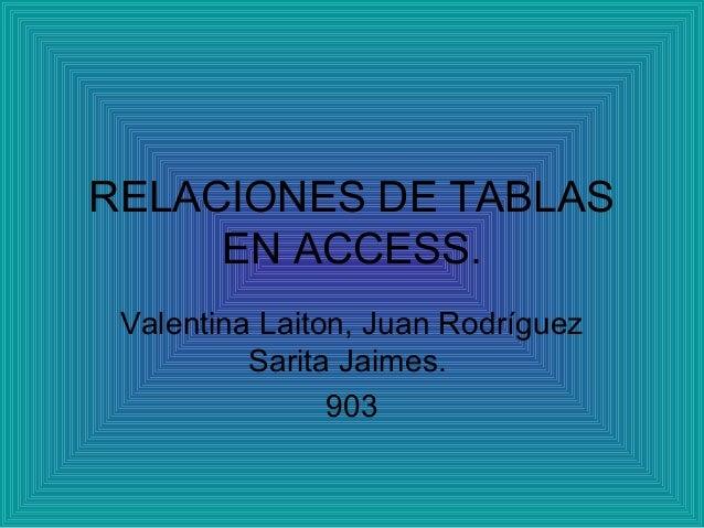 RELACIONES DE TABLAS EN ACCESS. Valentina Laiton, Juan Rodríguez Sarita Jaimes. 903