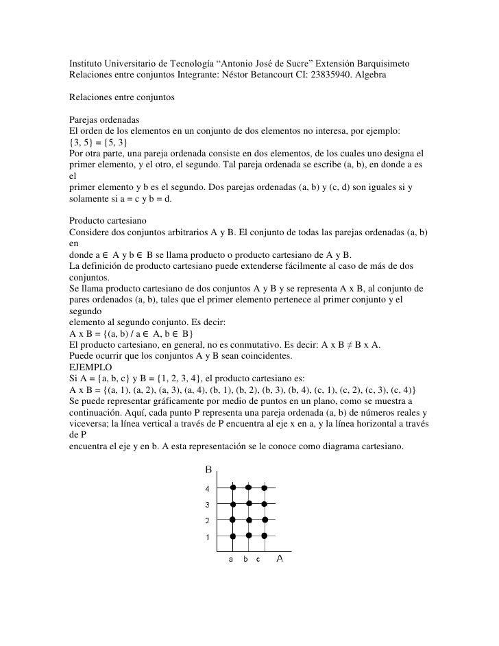 """Instituto Universitario de Tecnología """"Antonio José de Sucre"""" Extensión BarquisimetoRelaciones entre conjuntos Integrante:..."""
