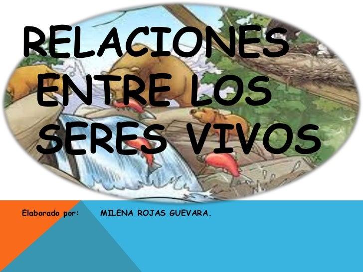 RELACIONES ENTRE LOS SERES VIVOSElaborado por:   MILENA ROJAS GUEVARA.