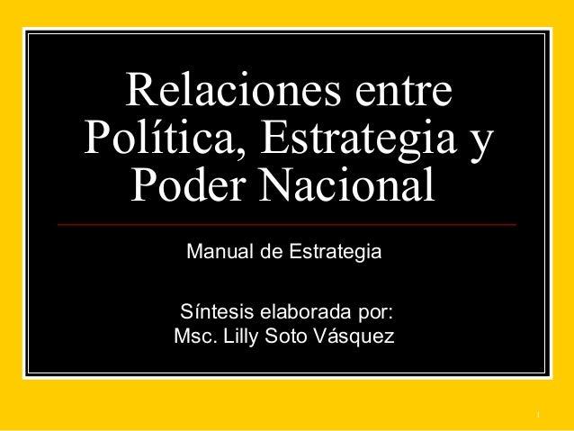 1 Relaciones entre Política, Estrategia y Poder Nacional Manual de Estrategia Síntesis elaborada por: Msc. Lilly Soto Vásq...