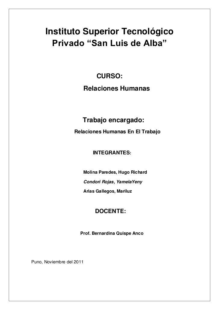 """Instituto Superior Tecnológico        Privado """"San Luis de Alba""""                             CURSO:                       ..."""