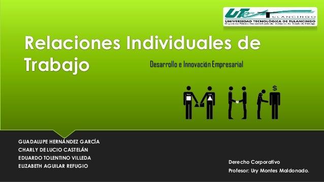 Relaciones Individuales de Desarrollo e Innovación Empresarial Trabajo  GUADALUPE HERNÁNDEZ GARCÍA CHARLY DE LUCIO CASTELÁ...