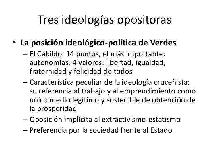 Tres ideologías opositoras• La posición ideológico-política de Verdes  – El Cabildo: 14 puntos, el más importante:    auto...