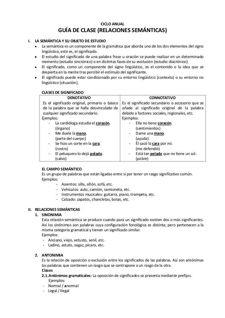CICLO ANUAL                  GUÍA DE CLASE (RELACIONES SEMÁNTICAS)I.   LA SEMÁNTICA Y SU OBJETO DE ESTUDIO         La semá...