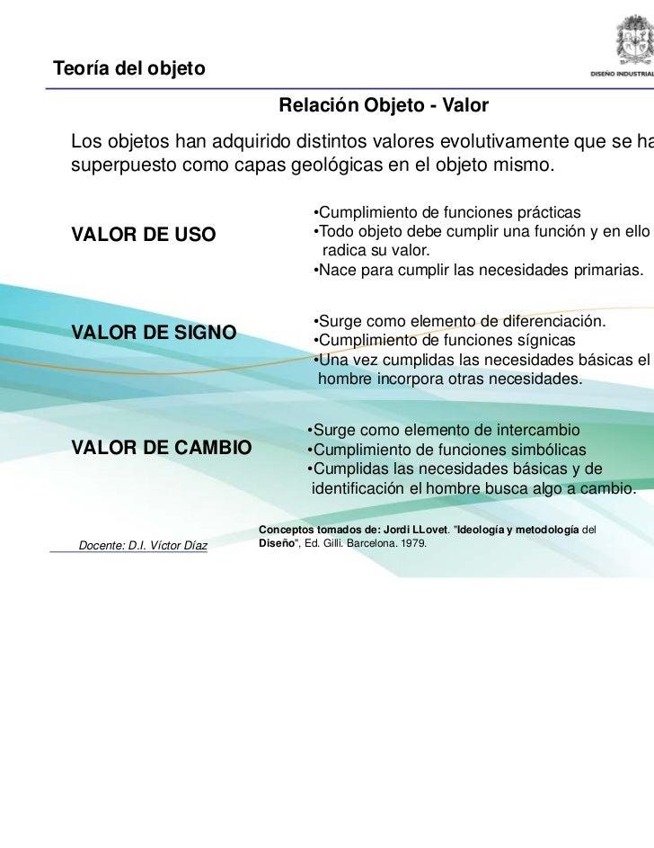 Teoría del objeto                                 Relación Objeto - Valor  Los objetos han adquirido distintos valores evo...