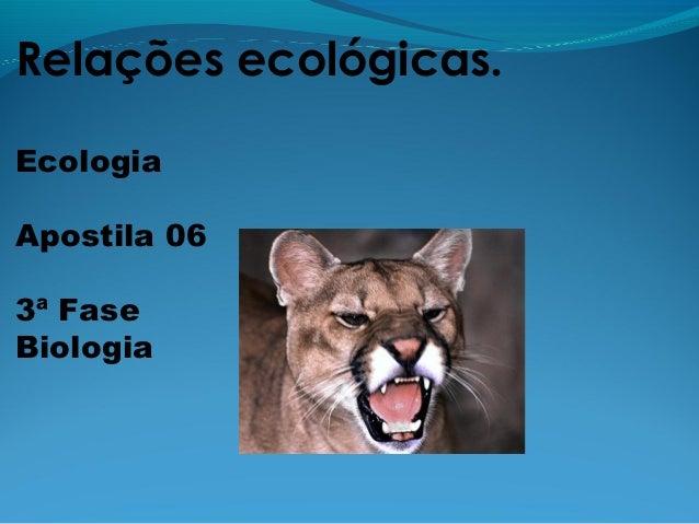 Relações ecológicas.EcologiaApostila 063ª FaseBiologia