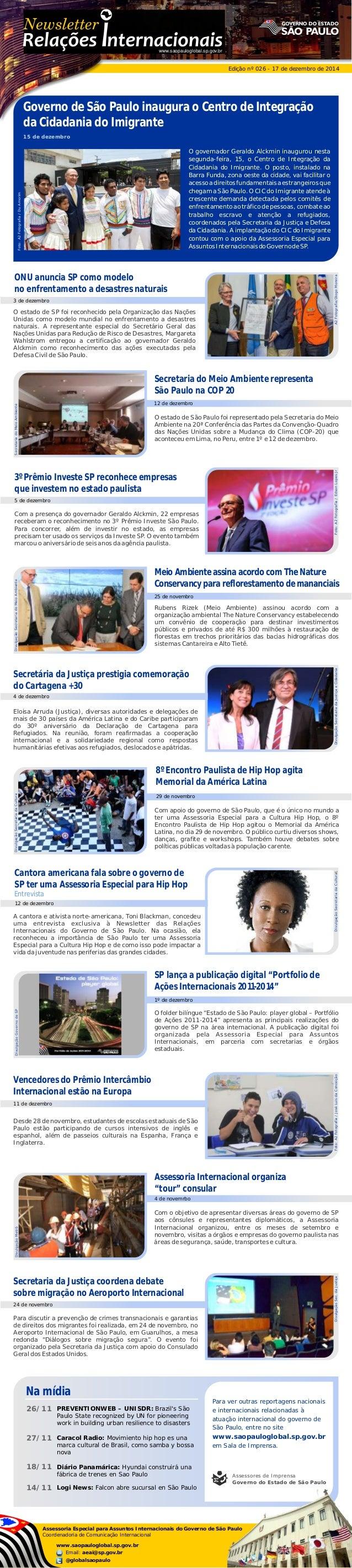 """www.saopauloglobal.sp.gov.br Edição nº 026 - 17 de dezembro de 2014 SP lança a publicação digital """"Portfolio de Ações Inte..."""