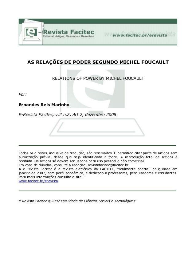 AS RELAÇÕES DE PODER SEGUNDO MICHEL FOUCAULT  RELATIONS OF POWER BY MICHEL FOUCAULT  Por: Ernandes Reis Marinho E-Revista ...