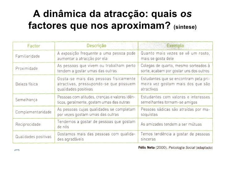 A dinâmica da atracção: quais  os  factores que nos aproximam?  (síntese)