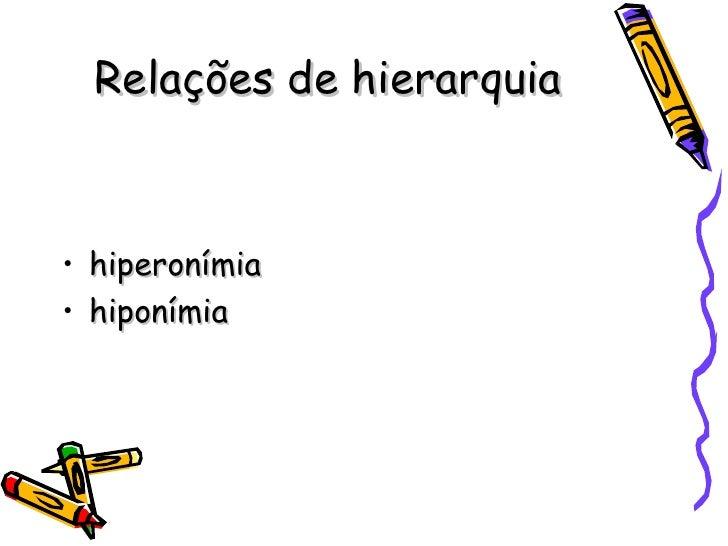 Relações de hierarquia <ul><li>hiperonímia </li></ul><ul><li>hiponímia </li></ul>