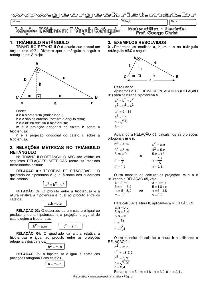 Trigonometria no triangulo retangulo exercicios resolvidos