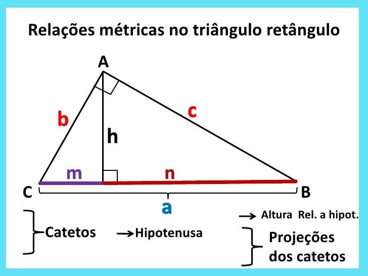 Relações métricas no triângulo retângulo              A     b                    c              h      m               nC ...