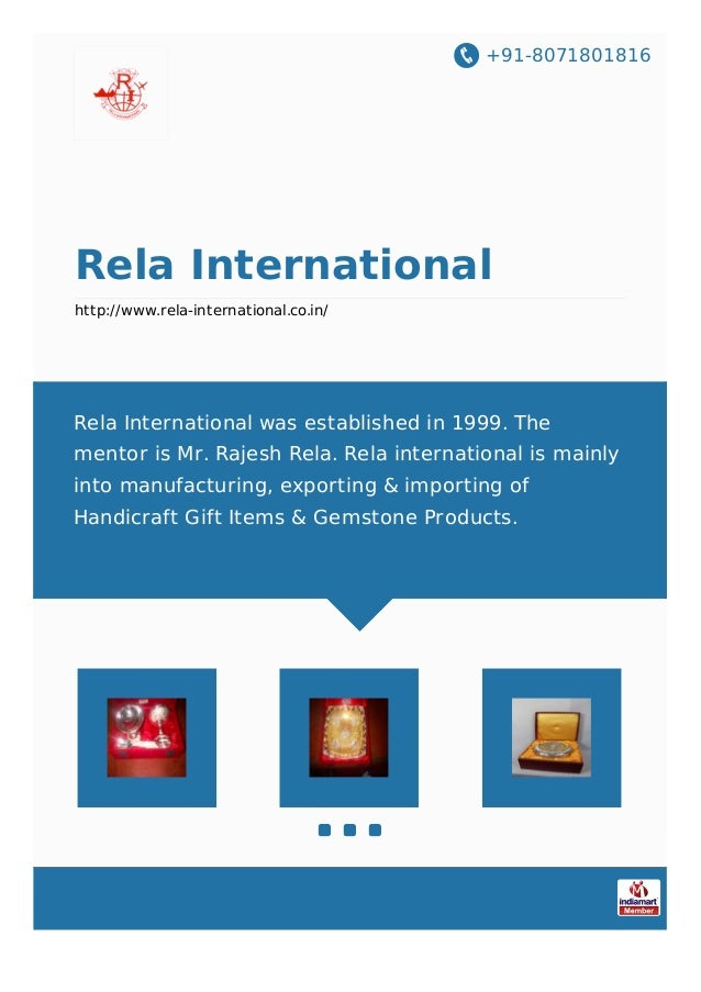 +91-8071801816 Rela International http://www.rela-international.co.in/ Rela International was established in 1999. The men...