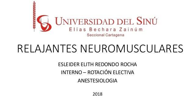 RELAJANTES NEUROMUSCULARES ESLEIDER ELITH REDONDO ROCHA INTERNO – ROTACIÓN ELECTIVA ANESTESIOLOGIA 2018