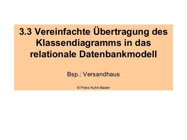 3.3 Vereinfachte Übertragung des    Klassendiagramms in das   relationale Datenbankmodell          Bsp.: Versandhaus      ...