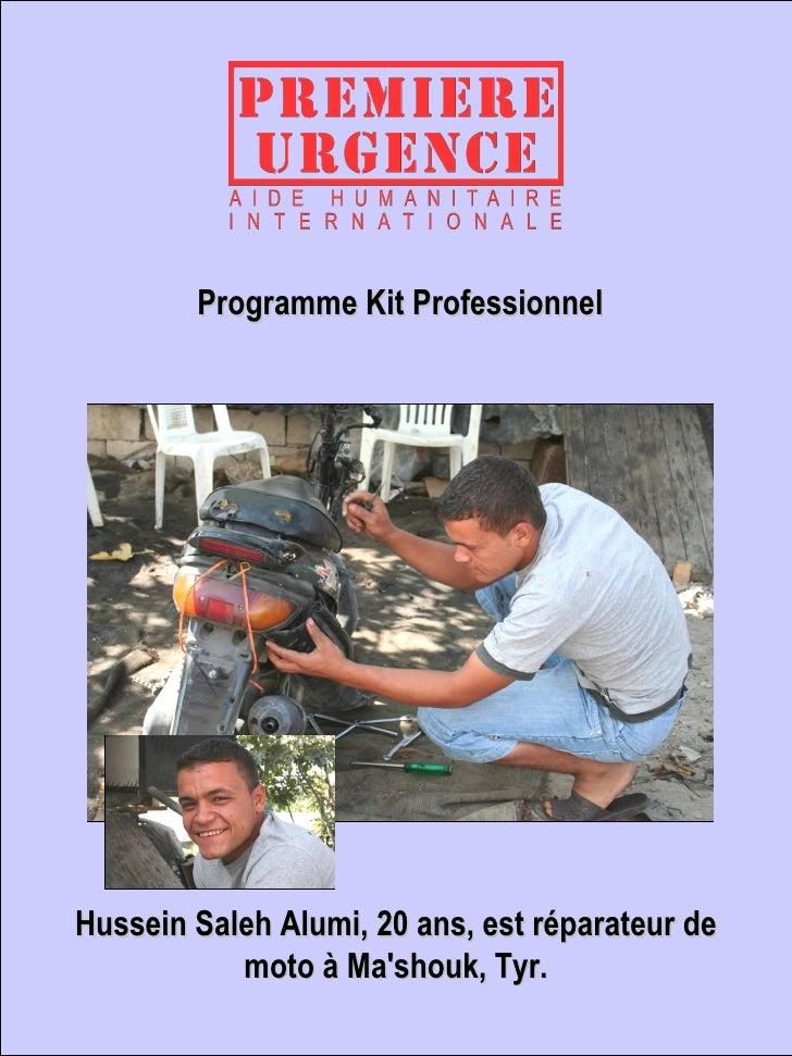Hussein Saleh Alumi, 20 ans, est réparateur de moto à Ma'shouk, Tyr. Programme Kit Professionnel