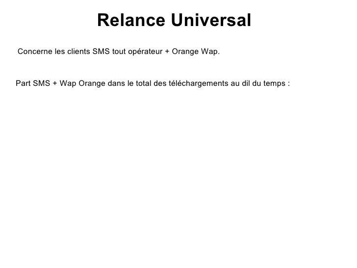 Relance Universal Concerne les clients SMS tout opérateur + Orange Wap. Part SMS + Wap Orange dans le total des télécharge...
