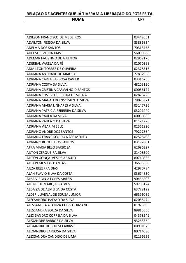RELAÇÃO DE AGENTES QUE JÁ TIVERAM A LIBERAÇÃO DO FGTS FEITA NOME CPF  ADILSON FRANCISCO DE MEDEIROS ADAILTON PESSOA DA SIL...