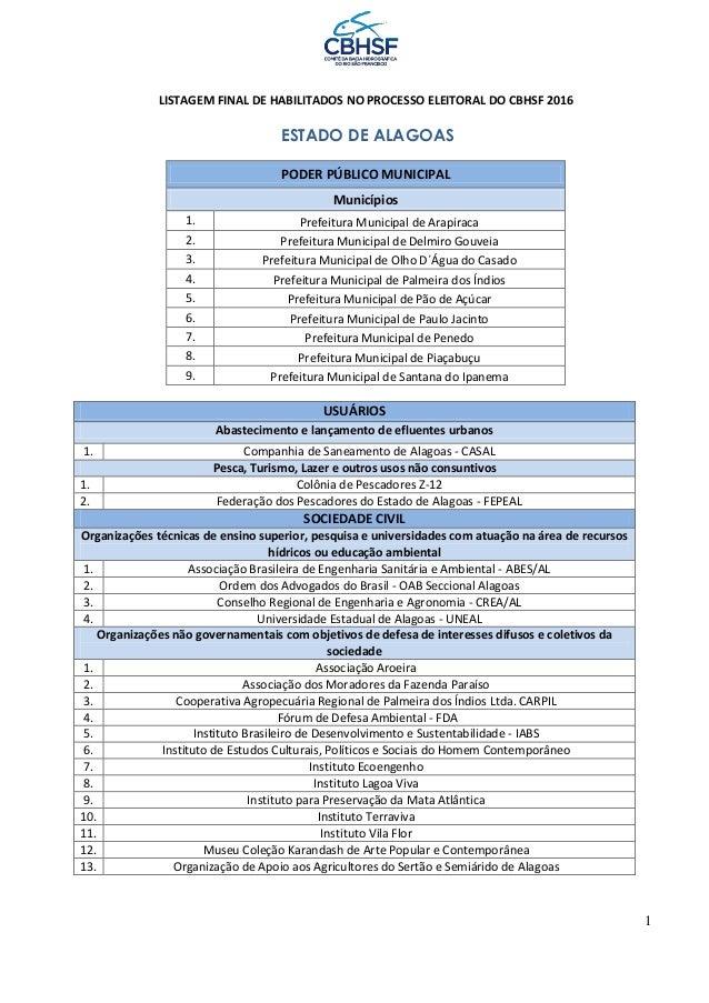 1 LISTAGEM FINAL DE HABILITADOS NO PROCESSO ELEITORAL DO CBHSF 2016 ESTADO DE ALAGOAS PODER PÚBLICO MUNICIPAL Municípios 1...