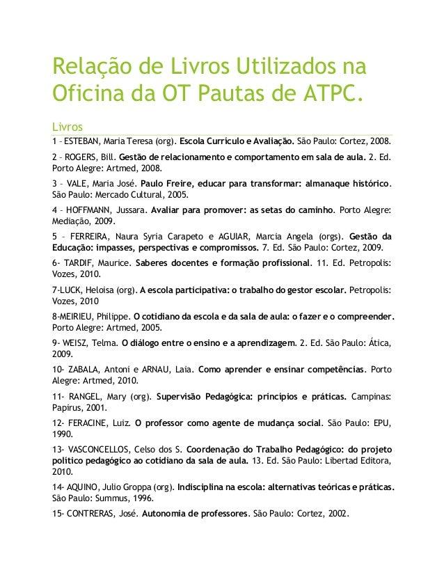Relação de Livros Utilizados naOficina da OT Pautas de ATPC.Livros1 – ESTEBAN, Maria Teresa (org). Escola Currículo e Aval...