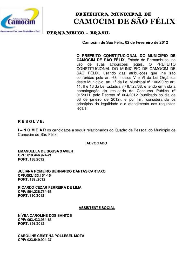 PREFEITURA MUNICIPAL DE                               CAMOCIM DE SÃO FÉLIX                 PERNAMBUCO - BRASIL            ...