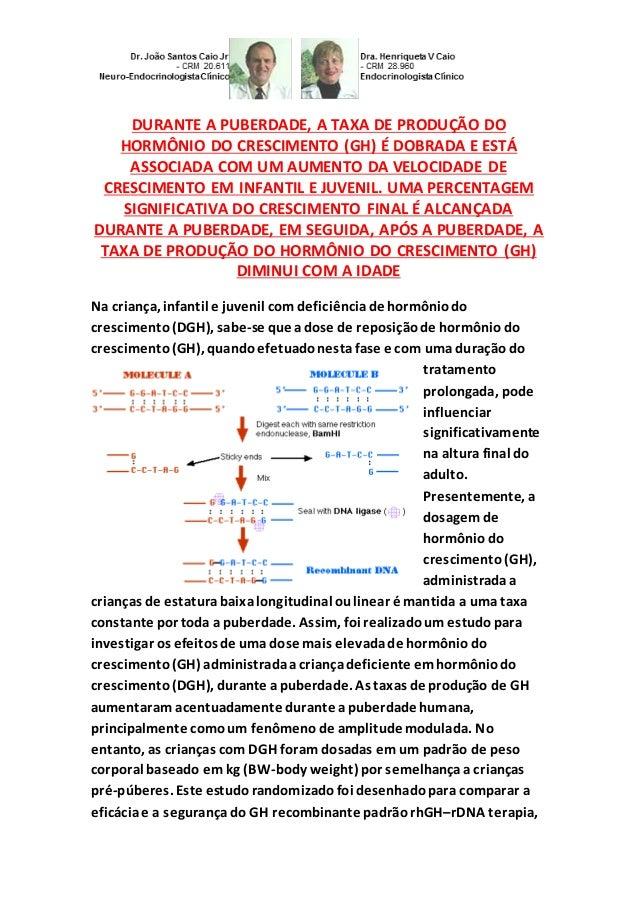 DURANTE A PUBERDADE, A TAXA DE PRODUÇÃO DO HORMÔNIO DO CRESCIMENTO (GH) É DOBRADA E ESTÁ ASSOCIADA COM UM AUMENTO DA VELOC...
