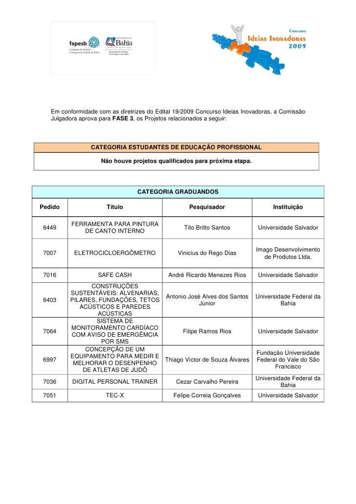 Em conformidade com as diretrizes do Edital 19/2009 Concurso Ideias Inovadoras, a Comissão   Julgadora aprova para FASE 3,...