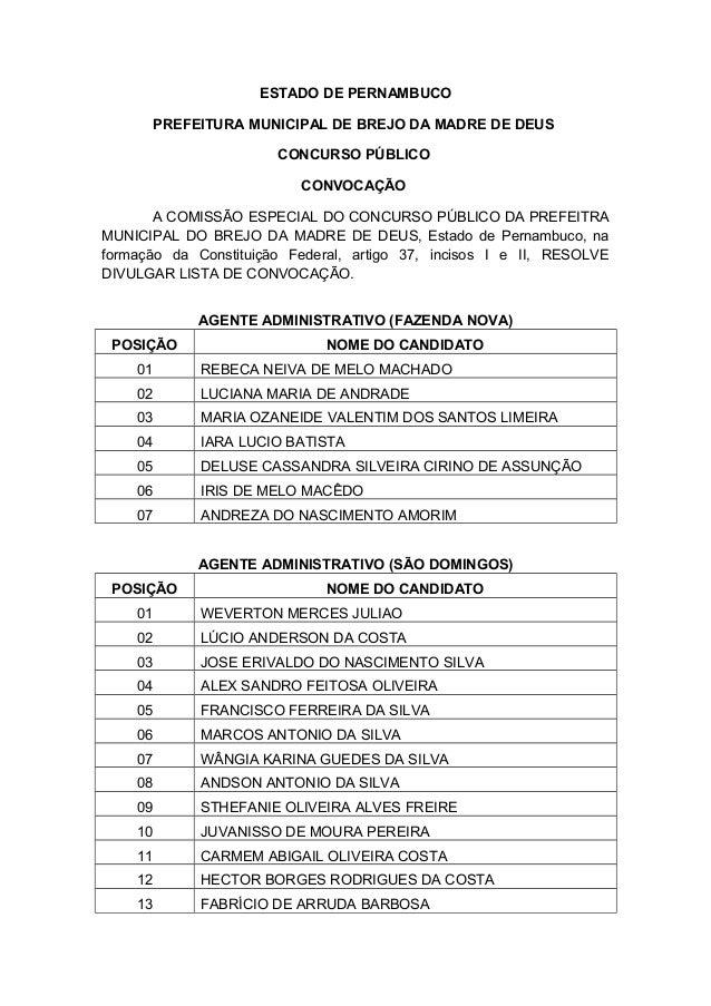 ESTADO DE PERNAMBUCO PREFEITURA MUNICIPAL DE BREJO DA MADRE DE DEUS CONCURSO PÚBLICO CONVOCAÇÃO A COMISSÃO ESPECIAL DO CON...