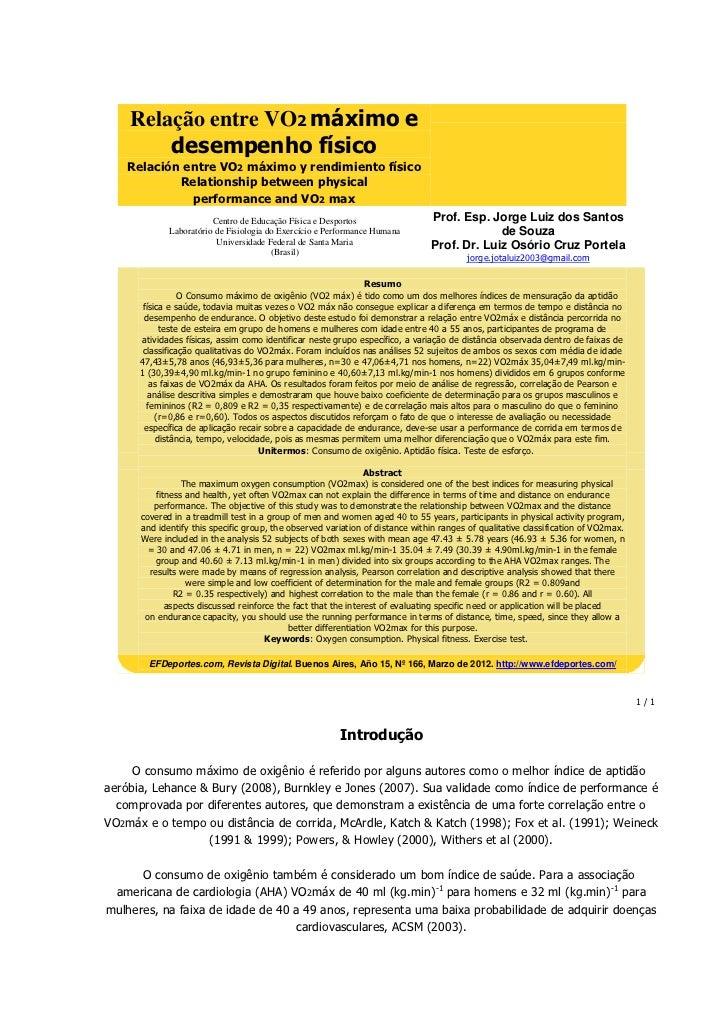 Relação entre VO2 máximo e        desempenho físico    Relación entre VO2 máximo y rendimiento físico            Relations...