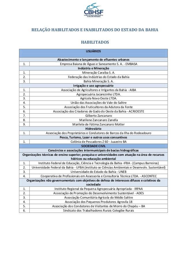 RELAÇÃO HABILITADOS E INABILITADOS DO ESTADO DA BAHIAHABILITADOSUSUÁRIOSAbastecimento e lançamento de efluentes urbanos1. ...
