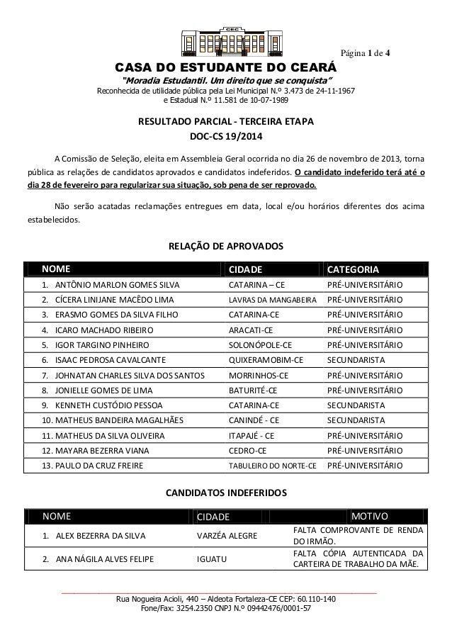 """Página 1 de 4 CASA DO ESTUDANTE DO CEARÁ """"Moradia Estudantil. Um direito que se conquista"""" Reconhecida de utilidade públic..."""