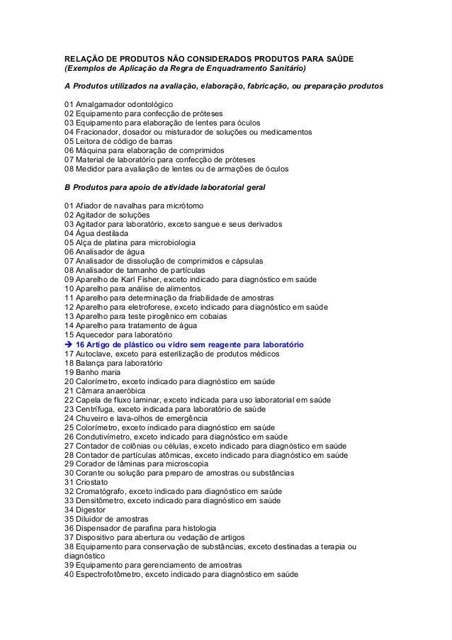 RELAÇÃO DE PRODUTOS NÃO CONSIDERADOS PRODUTOS PARA SAÚDE (Exemplos de Aplicação da Regra de Enquadramento Sanitário) A Pro...
