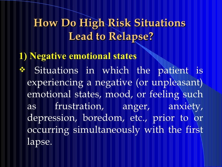 Relapse Preventionpps – High Risk Situations for Relapse Worksheet