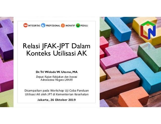 Relasi JFAK-JPT Dalam Konteks Utilisasi AK Disampaikan pada Workshop Uji Coba Panduan Utilisasi AK oleh JPT di Kementerian...