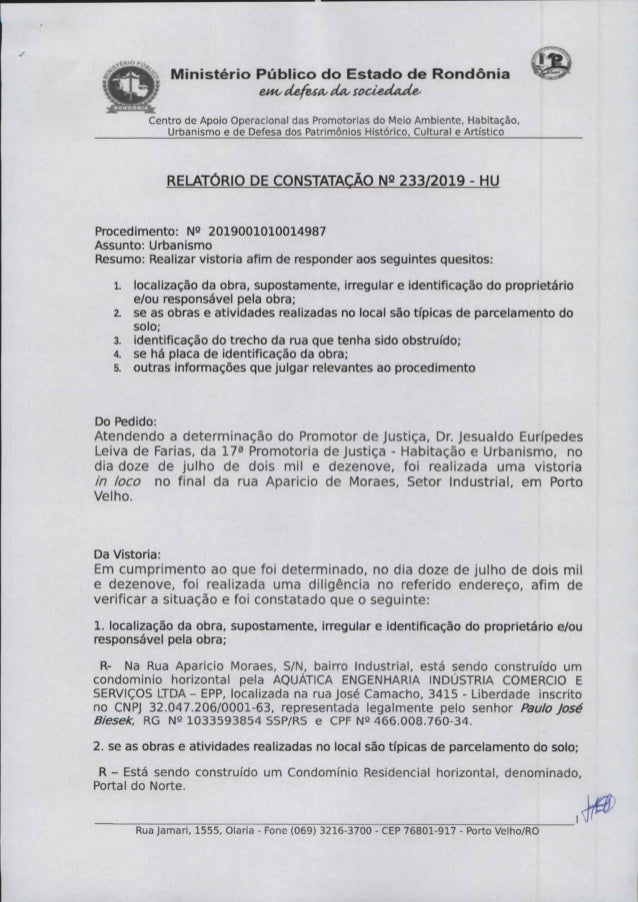 Ministério Público de Rondônia investiga supostas irregularidades em obras de condomínio no Bairro Industrial, em Porto Velho