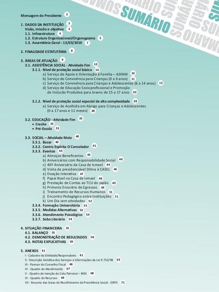 Mensagem do Presidente        21. DADOS DA INSTITUIÇÃO 3 Visão,missãoeobjetivo 3   1.1. Infraestrutura 4   1.2. Est...