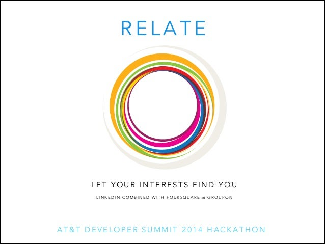 RELATE  LET YOUR INTERESTS FIND YOU LINKEDIN COMBINED WITH FOURSQUARE & GROUPON  AT&T DEVELOPER SUMMIT 2014 HACKATHON