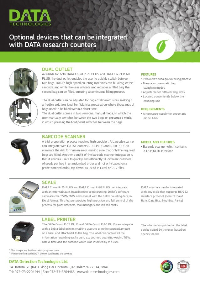 Optional devices that can be integrated with DATA research counters Dual Outlet Available for both DATA Count R-25 PLUS an...