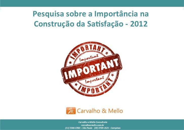 Pesquisa de Importância – 2011                     Pesquisa sobre a Importância na                ...