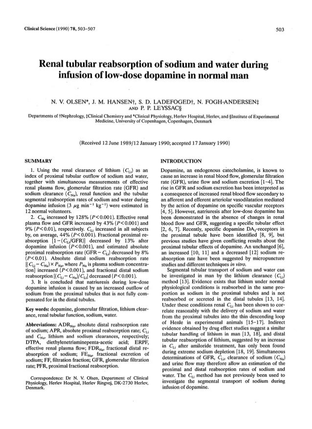 Clinical Science(1990)78,503-507 503 Renal tubular reabsorption of sodium and water during infusion of low-dosedopamine in...