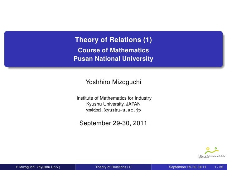 Theory of Relations (1)                               Course of Mathematics                              Pusan National Un...