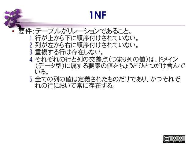 1NF ● 要件:テーブルがリレーションであること。 1. 行が上から下に順序付けされていない。 2. 列が左から右に順序付けされていない。 3. 重複する行は存在しない。 4. それぞれの行と列の交差点(つまり列の値)は、ドメイン (データ型...
