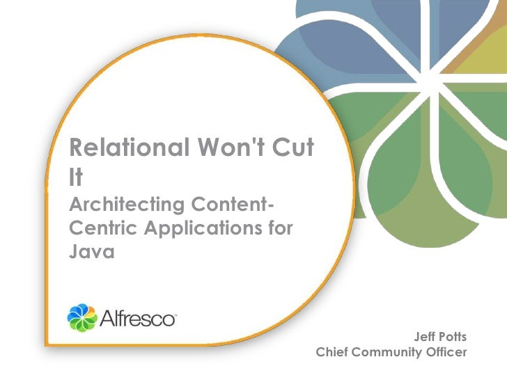 Relational Won't Cut ItArchitecting Content-Centric Applications for Java<br />Jeff Potts<br />Chief Community Officer<br />