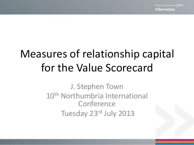 Measures of relationship capital for the Value Scorecard J. Stephen Town 10th Northumbria International Conference Tuesday...