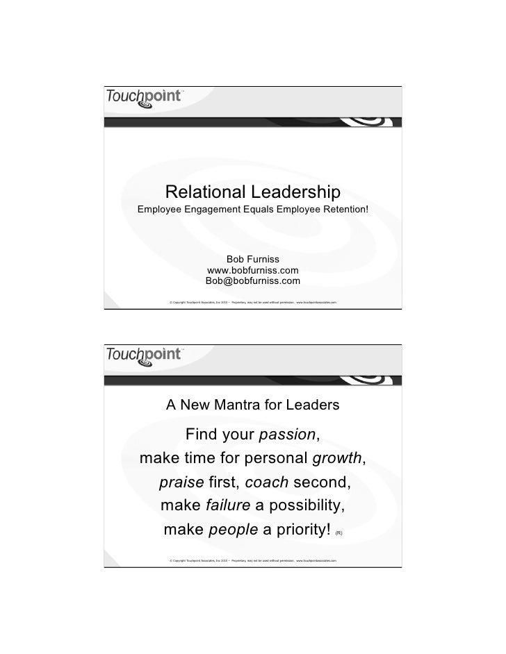 Relational Leadership - ICMI @ Dreamforce 2010 Handout - Bob Furniss
