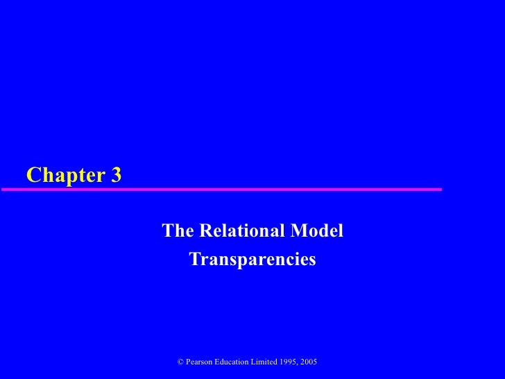 Chapter 3            The Relational Model              Transparencies             © Pearson Education Limited 1995, 2005