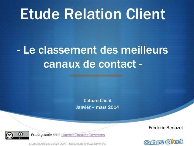 Etude réalisée par Culture Client – Sous license Creative Commons Etude Relation Client - Le classement des meilleurs cana...