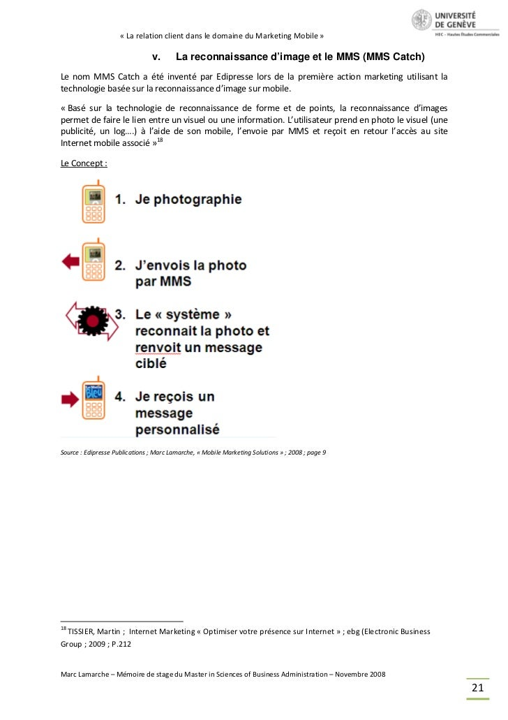 « La relation client dans le domaine du Marketing Mobile »                                v.       La reconnaissance d'ima...